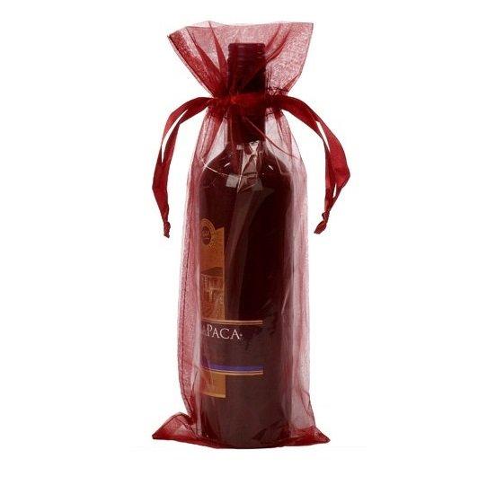 Sachets organza pour bouteille 15x38cm noir burgundy