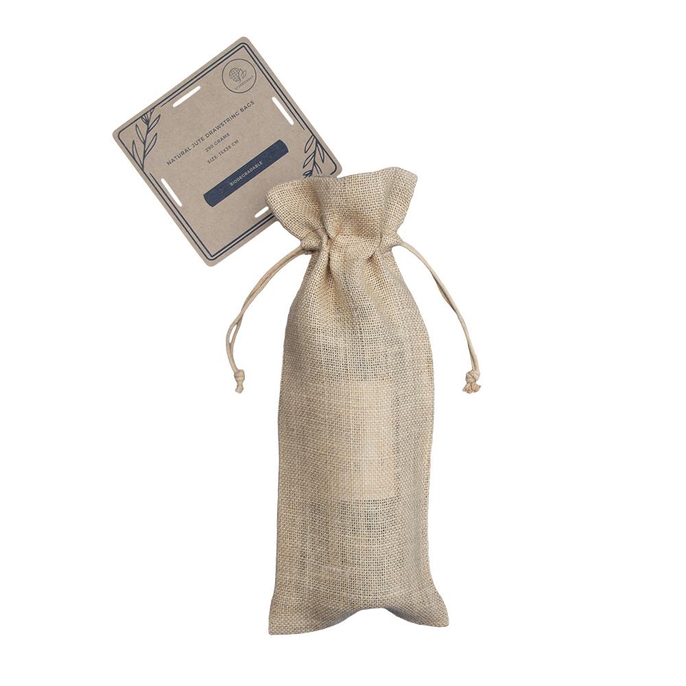 Bolsas Biodegradables de Yute para Botellas de Vino 15x38cm