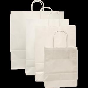 100 piezas Bolso de Mano Papel Blanco, cordón retorcido, varios tamaños