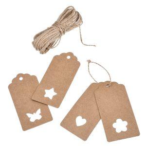00 piezas Etiquetas con 20m de cuerda 9,5x4,5cm Corazón, Estrella, Mariposa y Flor (25 cada una) (2)
