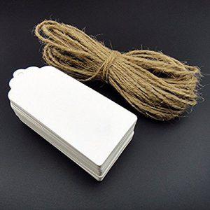 100 piezas Kraft Labels Blanco 5x10cm con cuerda de 30 metros