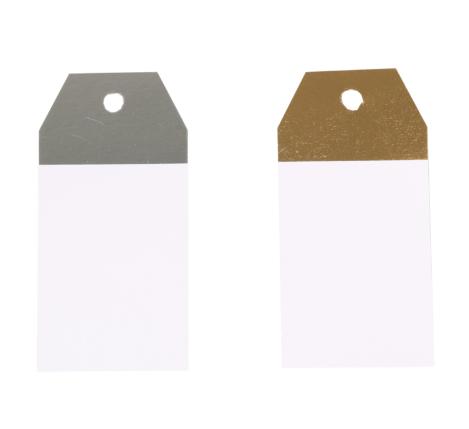 50 piezas Etiquetas Kraft Blanco-Plata o Blanco-Oro 4,5x9cm