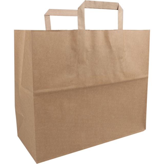250 bolsas de papel FSC con asa plana marrón
