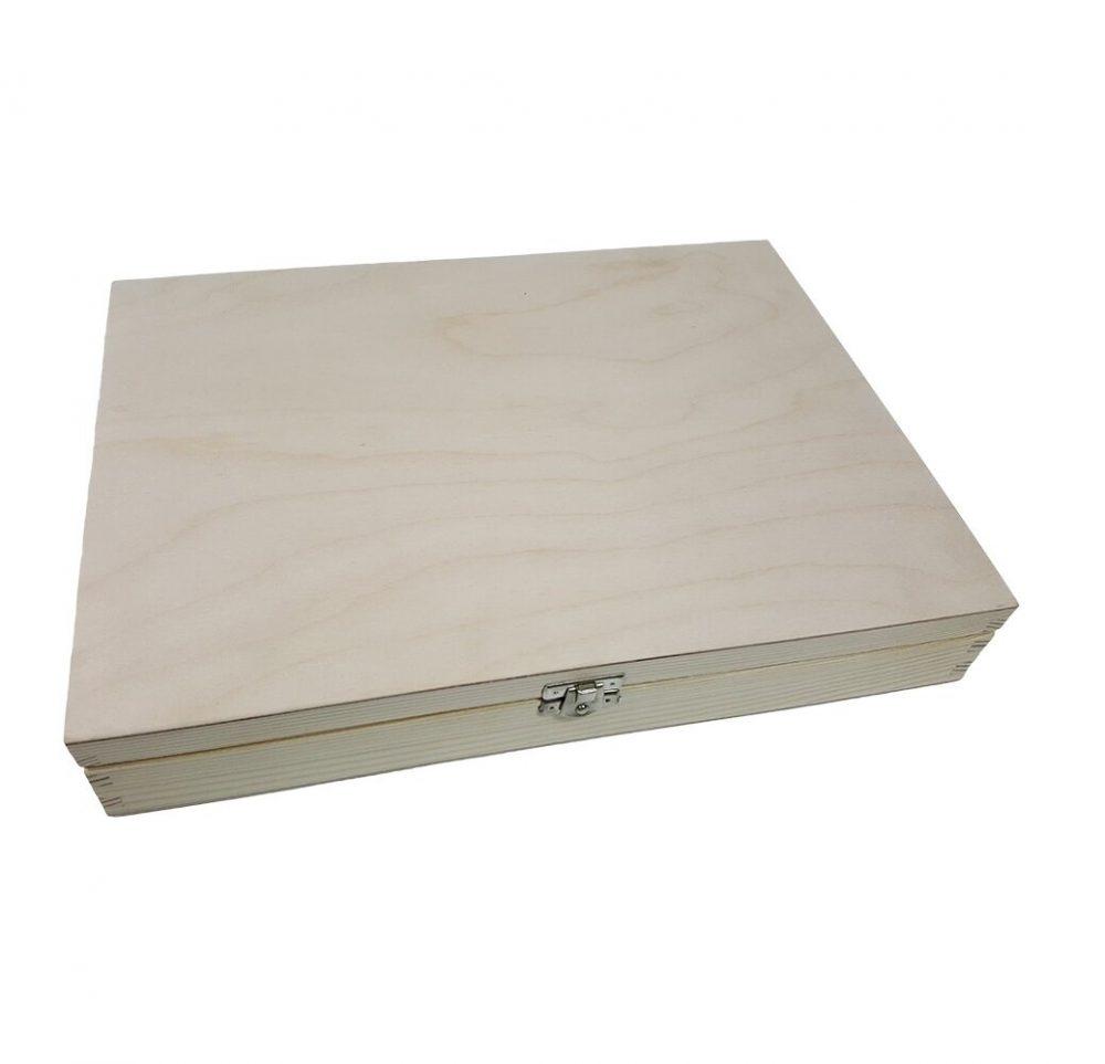 Cajas de madera de abeto FSC con tapa A4, A5, A6 natural sin barnizar